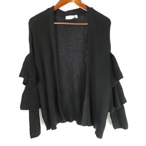 NEW CLOTH By RD Blk Tiered Ruffle Sleeve Sweater